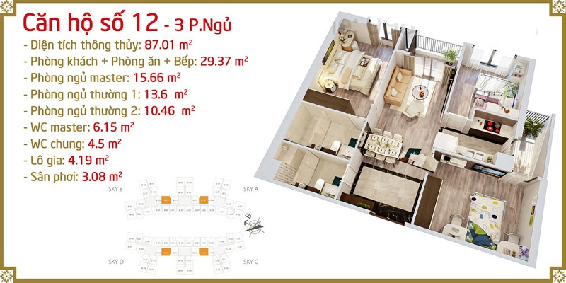Thiết kế căn 12 Imperia Sky Garden 423 Minh Khai