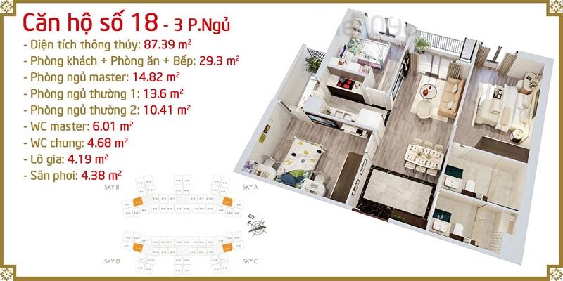 Thiết kế căn 18 Imperia Sky Garden 423 Minh Khai