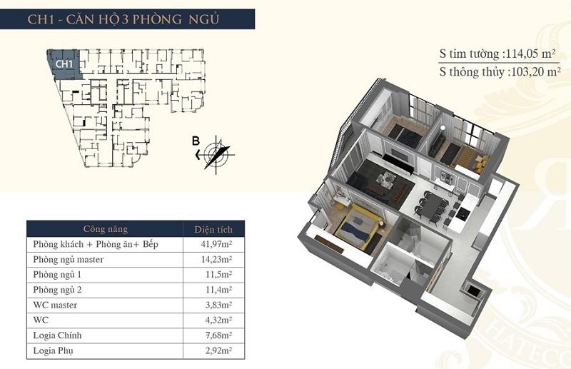 Thiết kế căn hộ 01 chung cư Hateco Laroma Chùa Láng