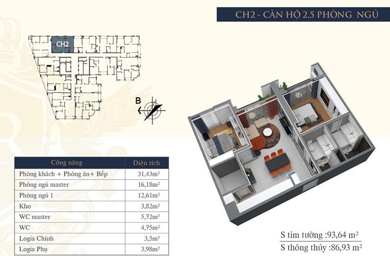 Thiết kế căn hộ 02 chung cư Hateco Laroma Chùa Láng