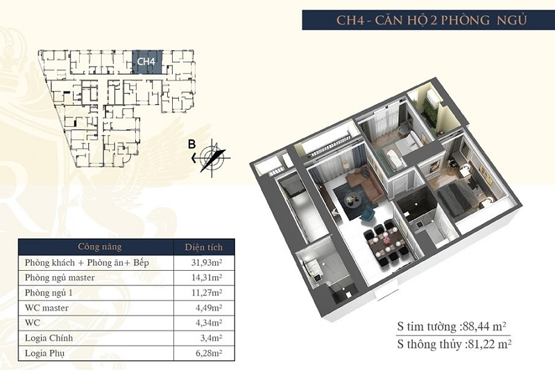 Thiết kế căn hộ 04 chung cư Hateco Laroma Chùa Láng