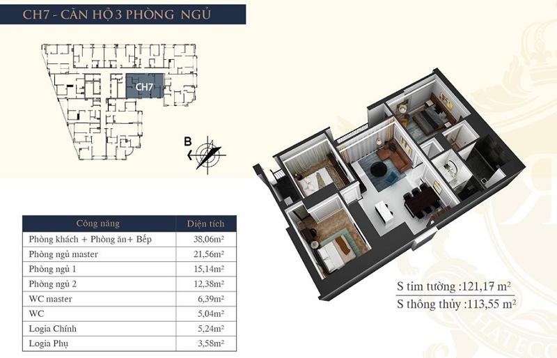 Thiết kế căn hộ 07 chung cư Hateco Laroma Chùa Láng