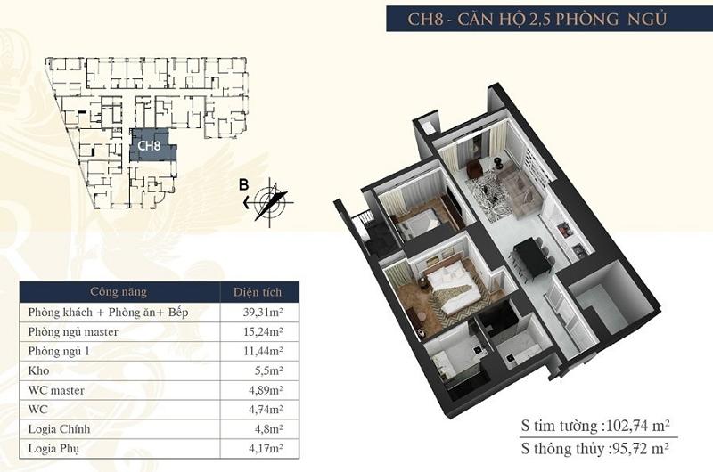 Thiết kế căn hộ 08 chung cư Hateco Laroma Chùa Láng