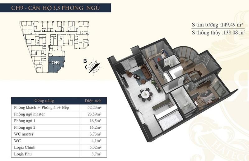 Thiết kế căn hộ 09 chung cư Hateco Laroma Chùa Láng
