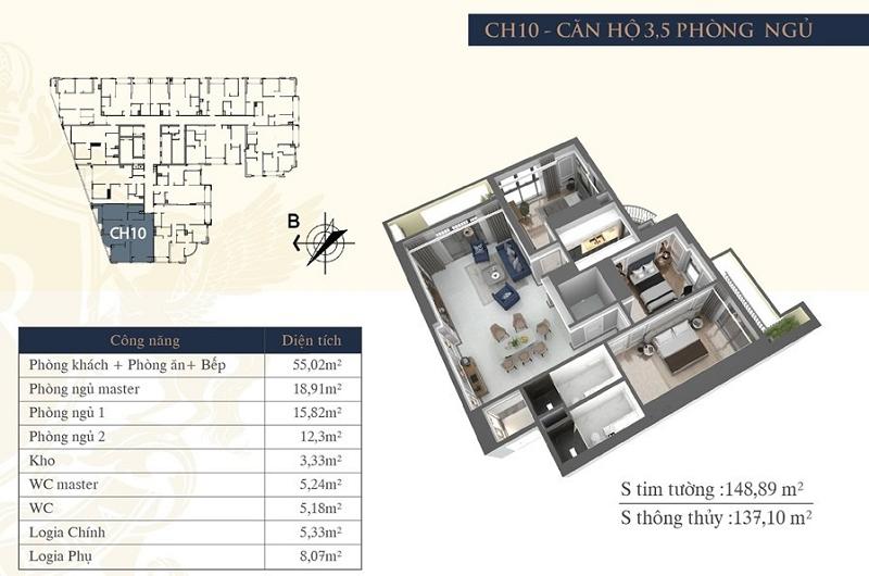 Thiết kế căn hộ 10 chung cư Hateco Laroma Chùa Láng