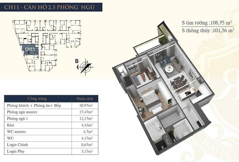 Thiết kế căn hộ 11 chung cư Hateco Laroma Chùa Láng