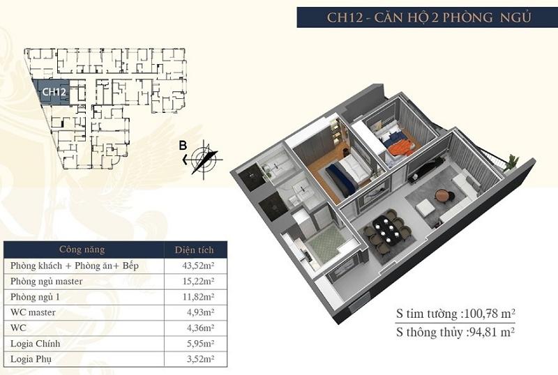 Thiết kế căn hộ 12 chung cư Hateco Laroma Chùa Láng