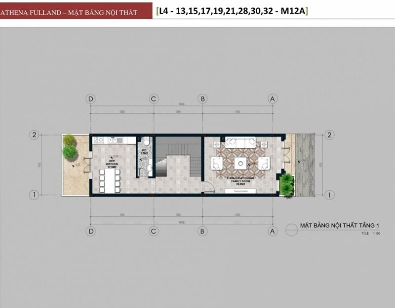 Thiết kế 1 liền kề phân khu Larissa Athena Fulland Đại Kim