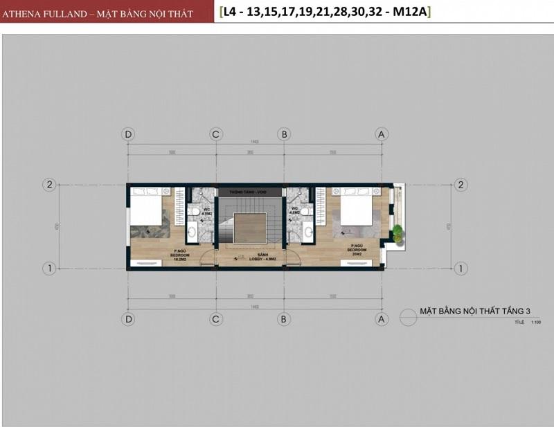 Thiết kế 3 liền kề phân khu Larissa Athena Fulland Đại Kim