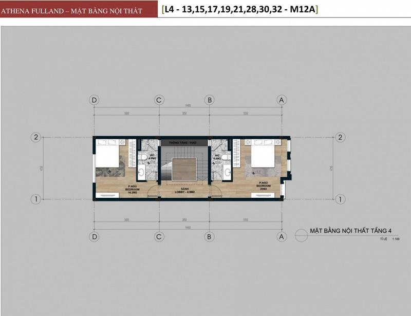 Thiết kế 4 liền kề phân khu Larissa Athena Fulland Đại Kim
