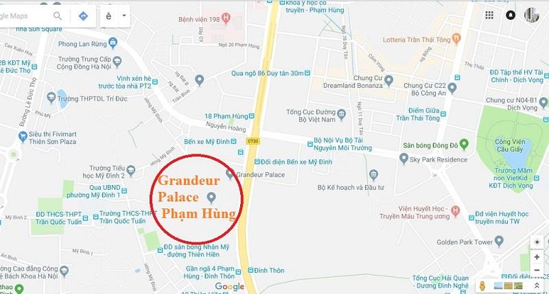 Vị trí chung cư Grandeur Palace Phạm Hùng - Mỹ Đình