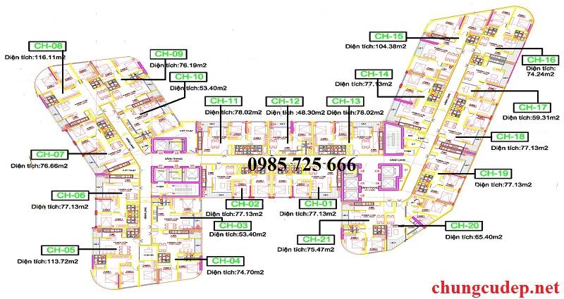 Mặt bằng căn hộ dự án chung cư T&T 273 Tây Sơn
