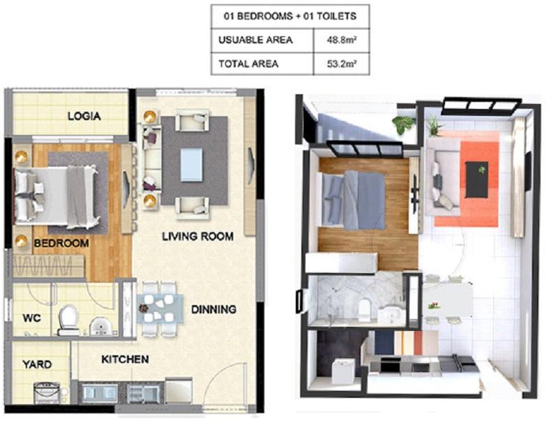 Thiết kế căn hộ 1pn dự án chung cư T&T 273 Tây Sơn