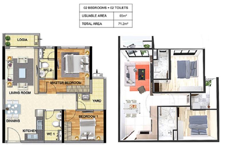 Thiết kế căn hộ 2pn dự án chung cư T&T 273 Tây Sơn
