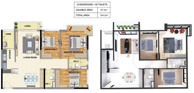 Thiết kế căn hộ 3pn dự án chung cư T&T 273 Tây Sơn