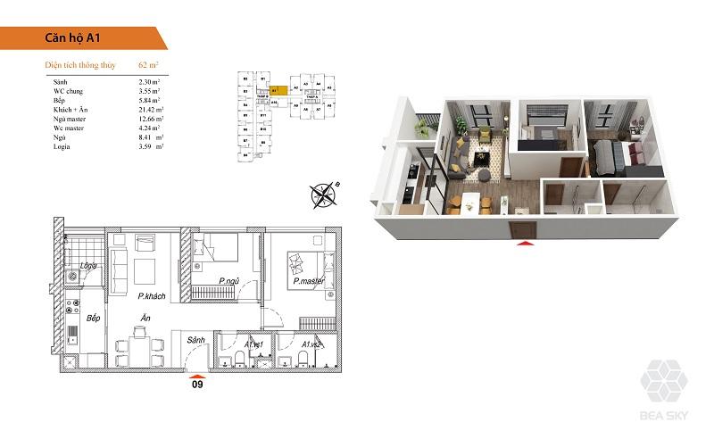 Thiết kế căn hộ A1-A10 Bea Sky Nguyễn Xiển