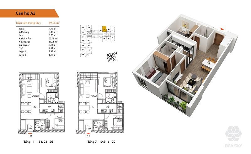 Thiết kế căn hộ A3-A4-A7-A8 Bea Sky Nguyễn Xiển