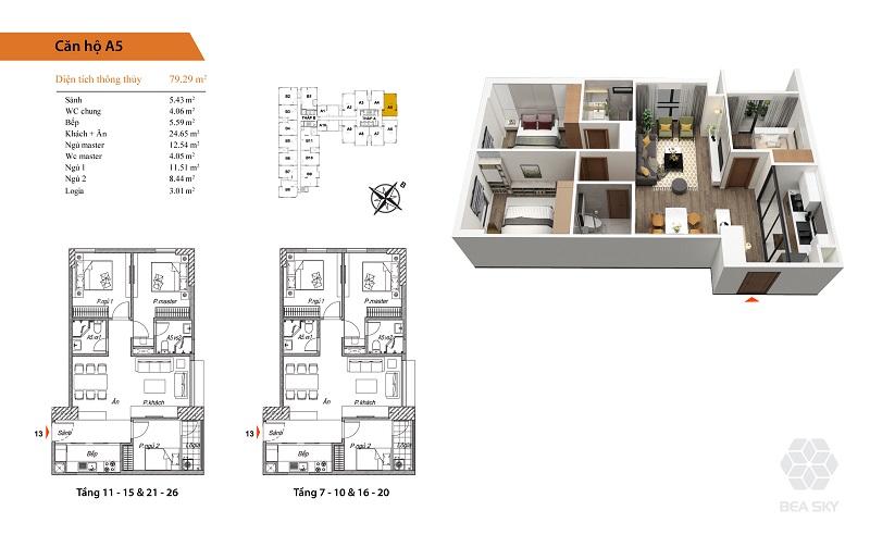 Thiết kế căn hộ A5-A6 Bea Sky Nguyễn Xiển