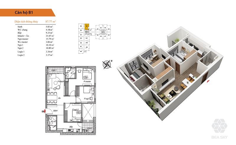 Thiết kế căn hộ B1 dự án Bea Sky Nguyễn Xiển