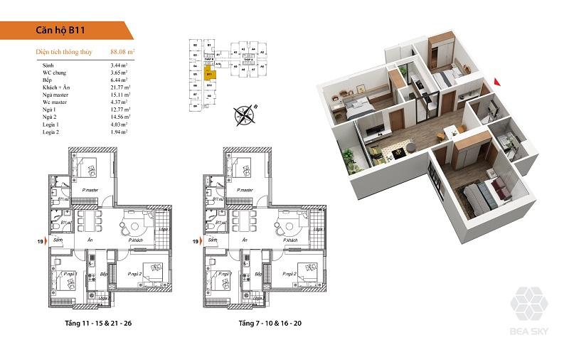 Thiết kế căn hộ B11 Bea Sky Nguyễn Xiển