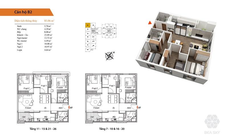 Thiết kế căn hộ B2 dự án Bea Sky Nguyễn Xiển