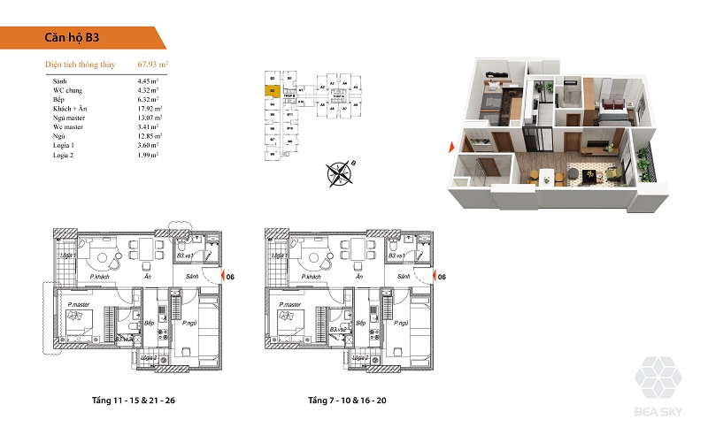 Thiết kế căn hộ B3-B4-B5-B6-B7-B10 Bea Sky Nguyễn Xiển