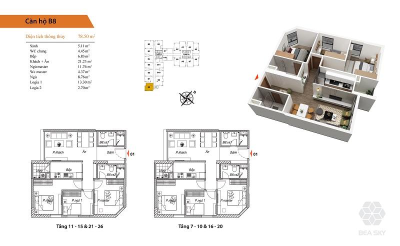 Thiết kế căn hộ B8 Bea Sky Nguyễn Xiển