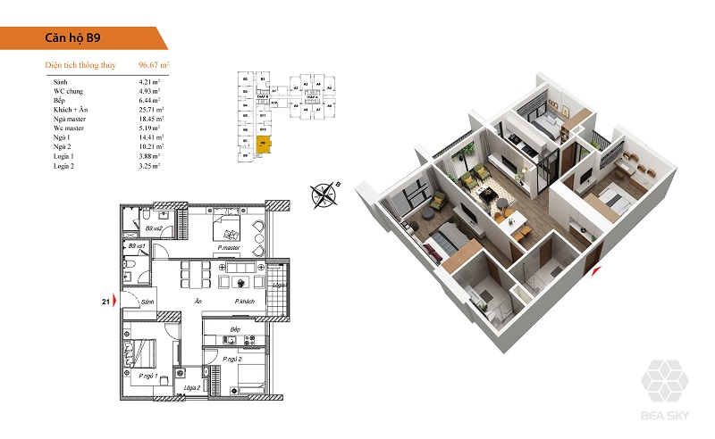 Thiết kế căn hộ B9 Bea Sky Nguyễn Xiển