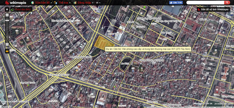Vị trí dự án chung cư T&T 273 Tây Sơn