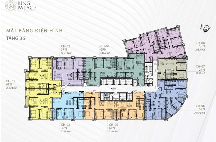 Mặt bằng tầng 36 chung cư King Palace 108 Nguyễn Trãi