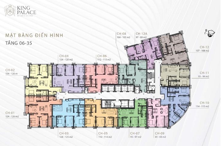 Mặt bằng tầng 6 đến 35 chung cư King Palace 108 Nguyễn Trãi