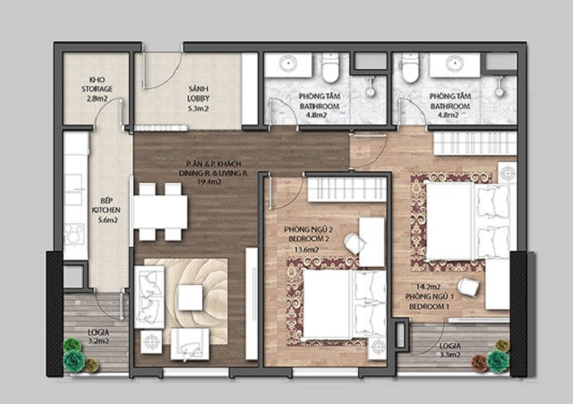 Mẫu thiết kế căn hộ 2PN The Jade Orchid Garden Vimefulland Cổ Nhuế (Tham khảo)