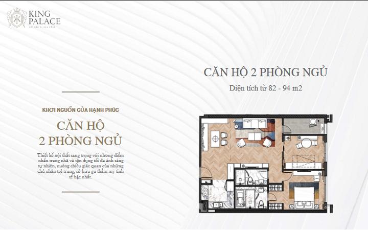Thiết kế 2pn chung cư King Palace 108 Nguyễn Trãi
