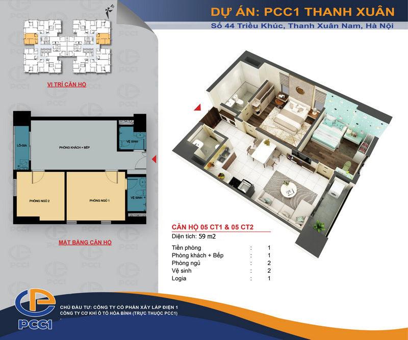 Thiết kế căn hộ 59m2 dự án PCC1 Thanh Xuân - 44 Triều Khúc