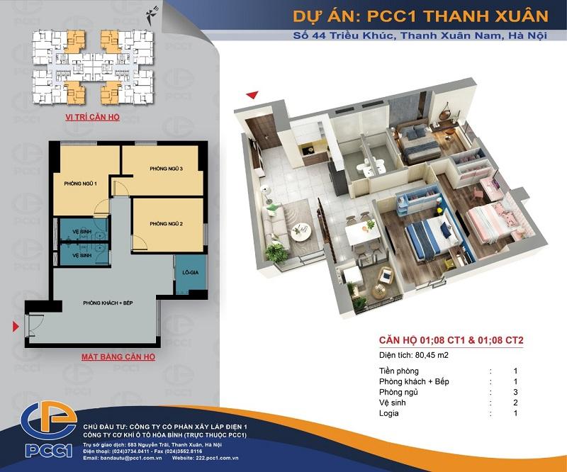 Thiết kế căn hộ A1 dự án PCC1 Thanh Xuân - 44 Triều Khúc