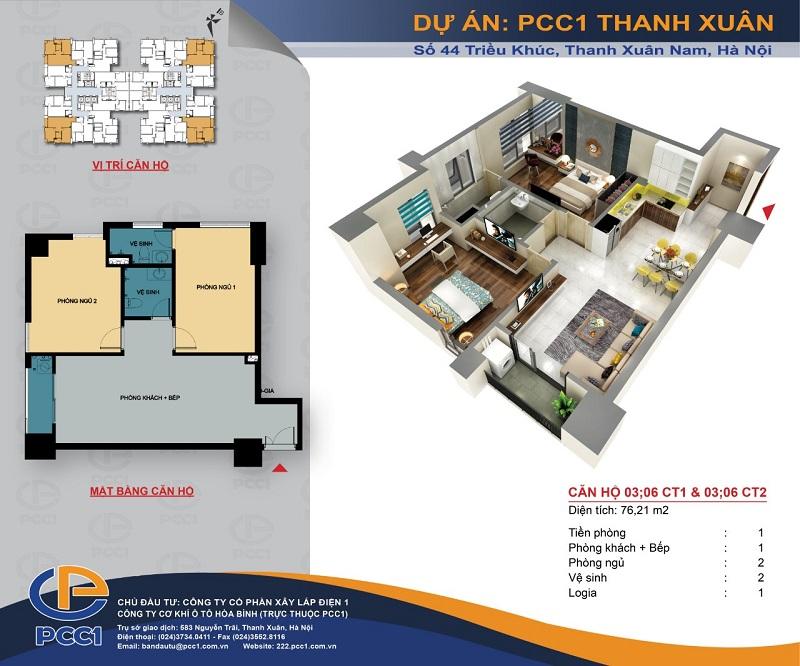 Thiết kế căn hộ A2 dự án PCC1 Thanh Xuân - 44 Triều Khúc