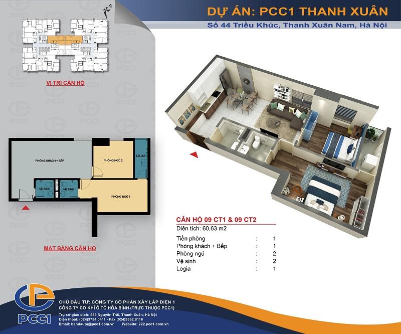 Thiết kế căn hộ B1 dự án PCC1 Thanh Xuân - 44 Triều Khúc