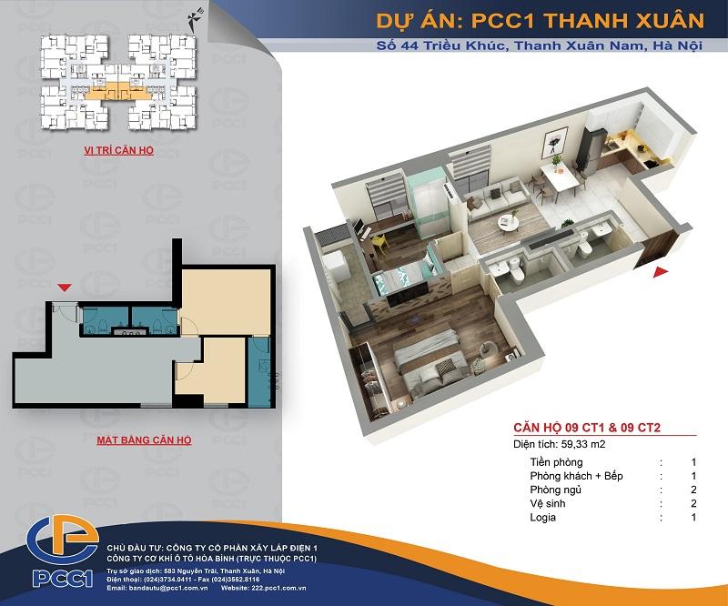 Thiết kế căn hộ B3 dự án PCC1 Thanh Xuân - 44 Triều Khúc