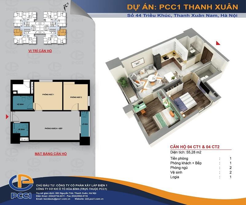 Thiết kế căn hộ C1 dự án PCC1 Thanh Xuân - 44 Triều Khúc