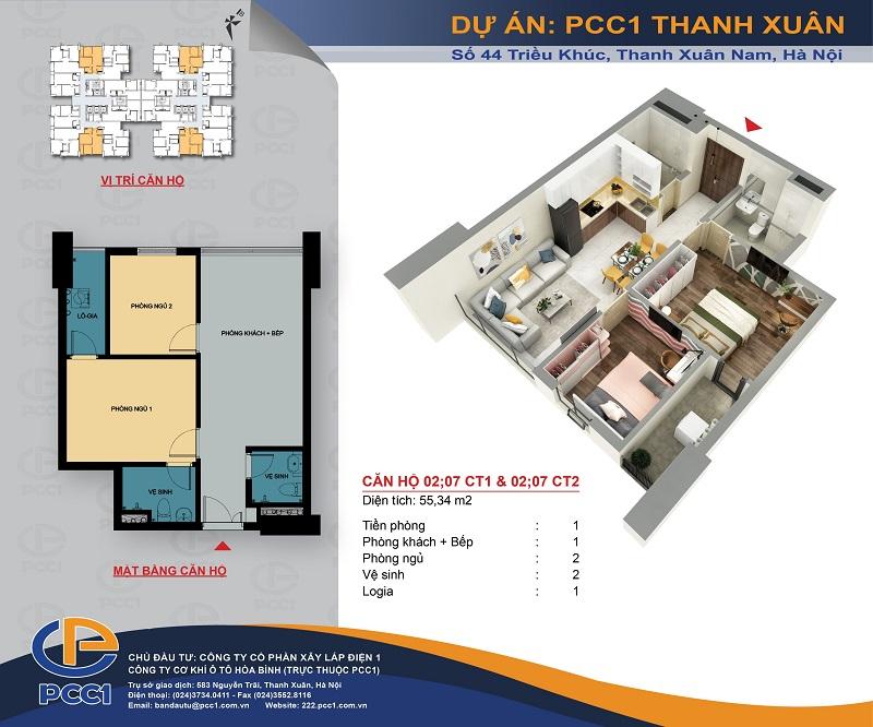 Thiết kế căn hộ C2 dự án PCC1 Thanh Xuân - 44 Triều KhúcThiết kế căn hộ C2 dự án PCC1 Thanh Xuân - 44 Triều Khúc
