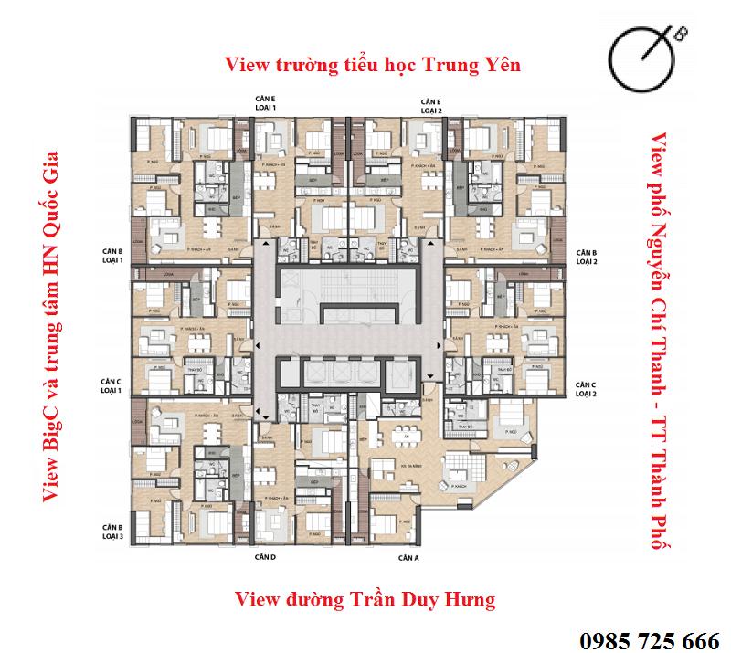 Mặt bằng căn hộ dự án chung cư Summit Building 216 Trần Duy Hưng