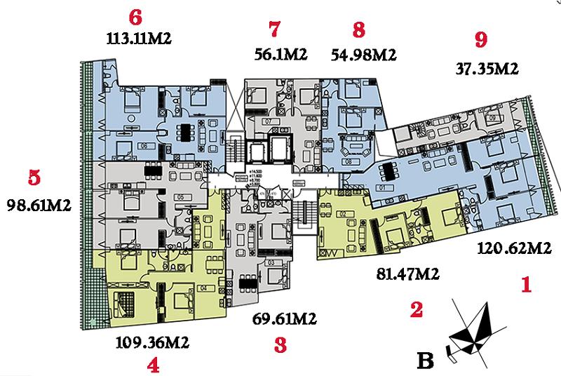 Mặt bằng điển hình dự án Núi Trúc Square 17 Ngõ Núi Trúc