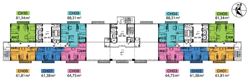 Mặt bằng điển hình dự án chung cư C1 Thành Công