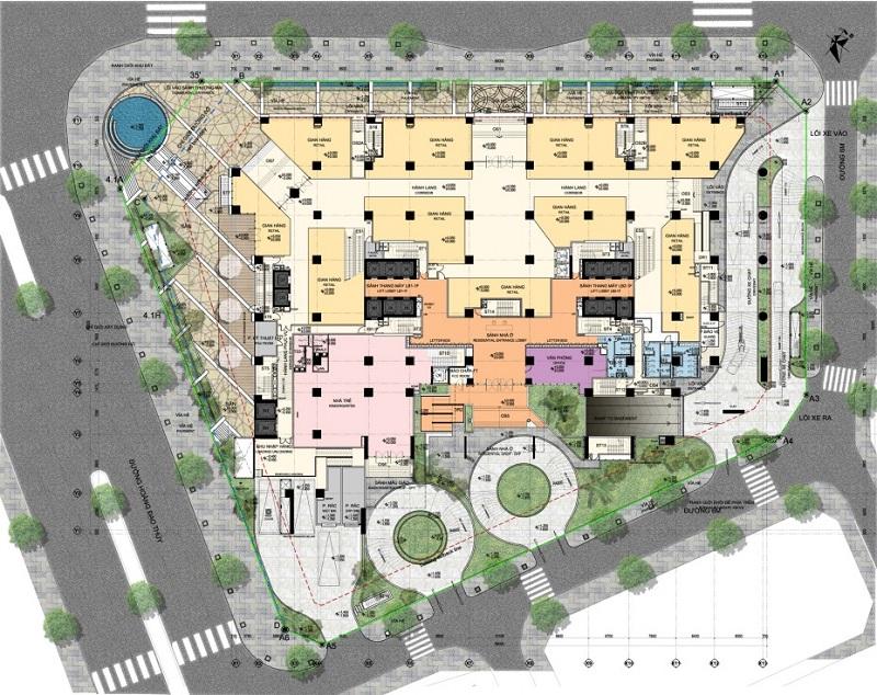 Mặt bằng tầng 1 chung cư BRG Park Residence 41 Lê Văn Lương