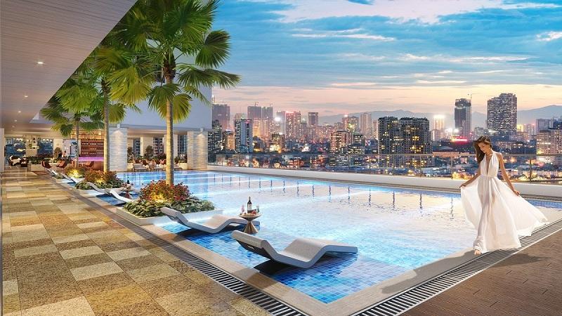 Phối cảnh bể bơi chung cư BRG Park Residence 25 Lê Văn Lương