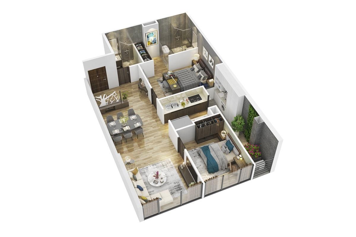 Phối cảnh căn hộ loại E chung cư Summit Building 216 Trần Duy Hưng