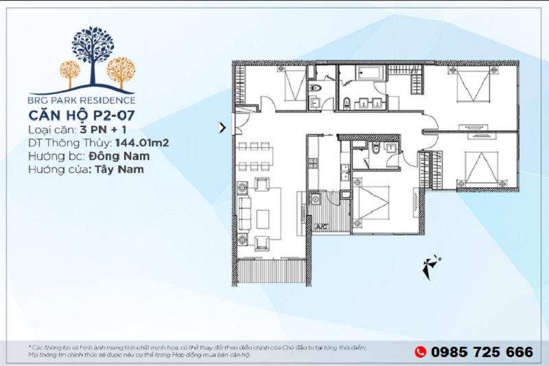 Thiết kế căn hộ 3PN+1 Diện tích 144m2 chung cư BRG Park Residence 25 Lê Văn Lương