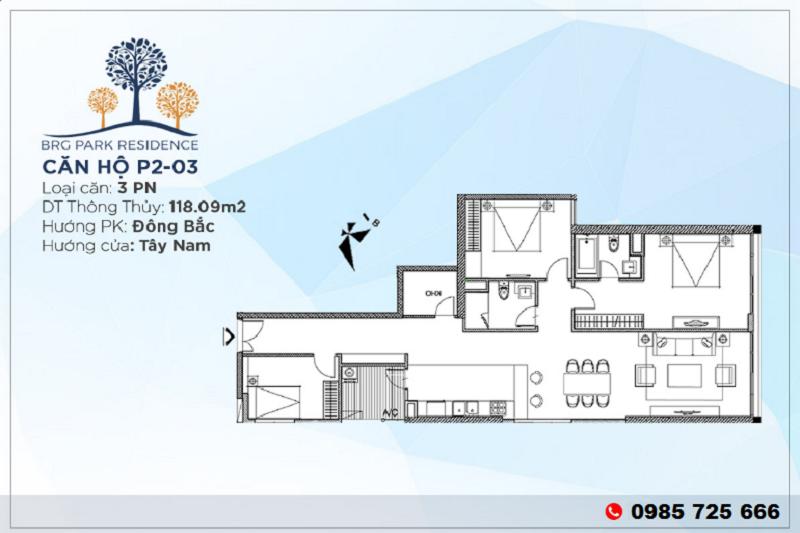 Thiết kế căn hộ 3PN Diện tích 118m2 chung cư BRG Park Residence 25 Lê Văn Lương