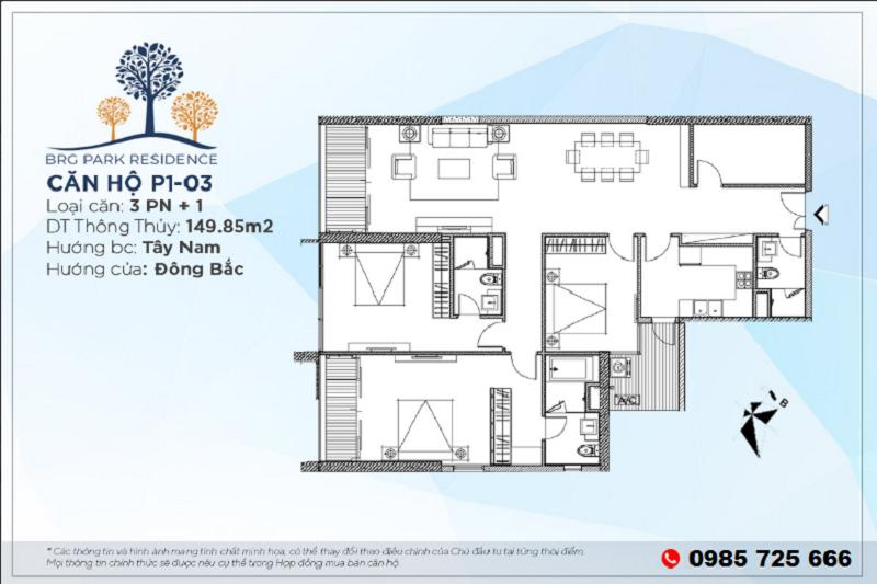 Thiết kế căn hộ 3PN+1 Diện tích 149m2 chung cư BRG Park Residence 25 Lê Văn Lương