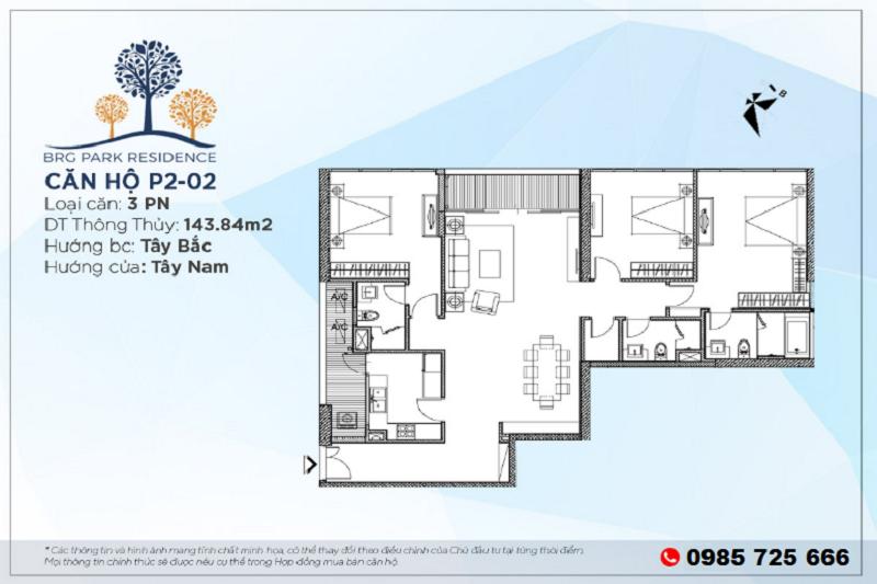 Thiết kế căn hộ 3PN Diện tích 143m2 chung cư BRG Park Residence 25 Lê Văn Lương